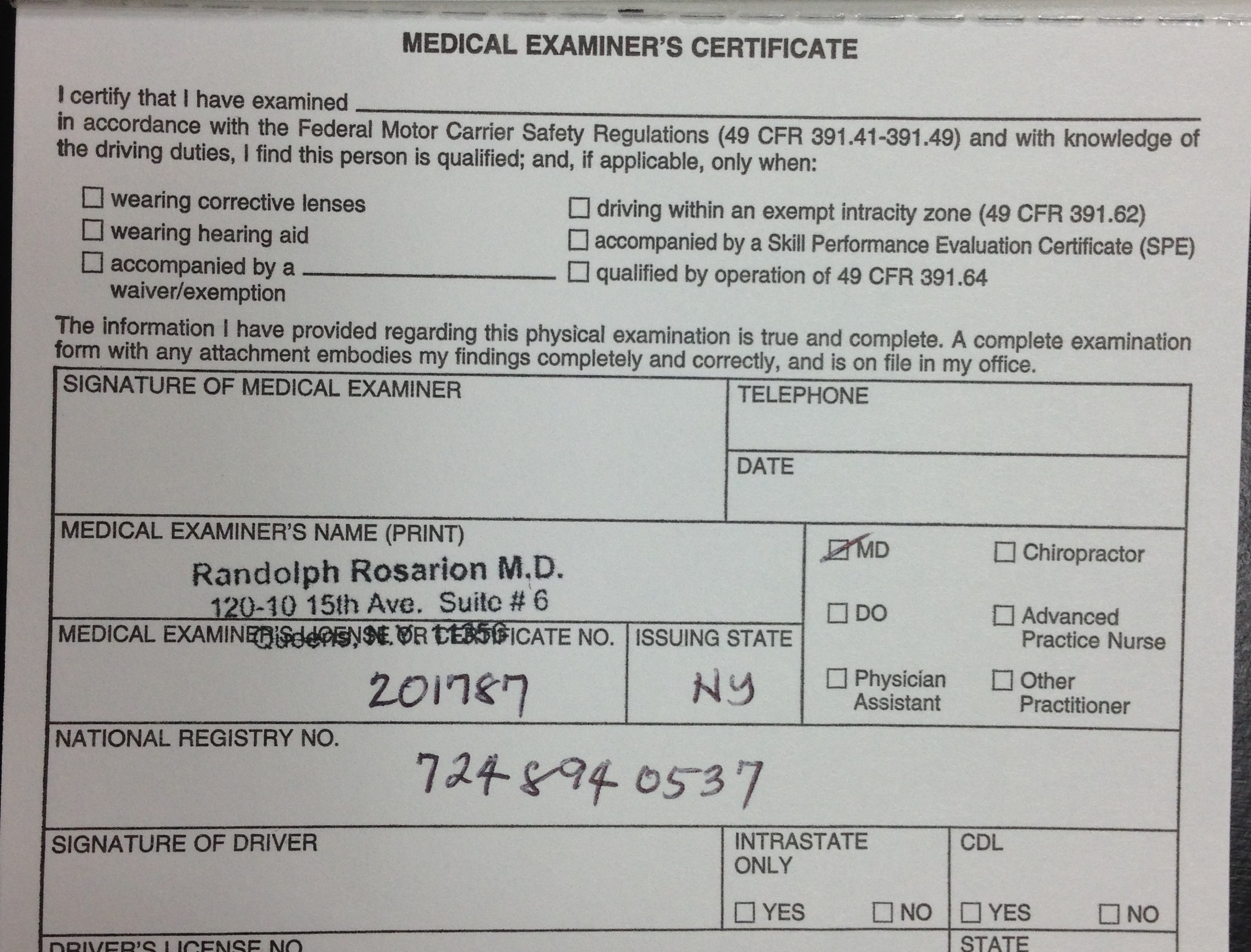 Medical Examination Report Form and Medical Examiner's Certificate ...