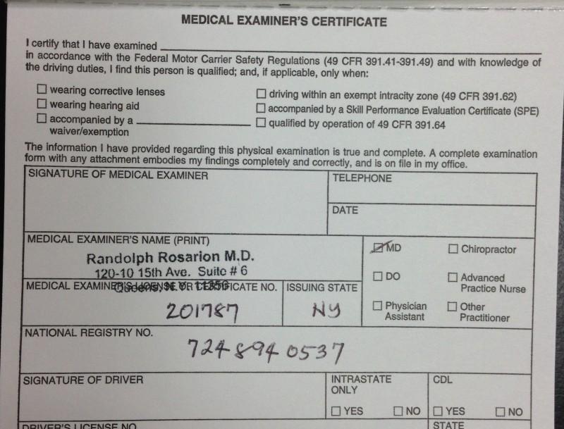 Dot Medical Card Form Ny Invisite