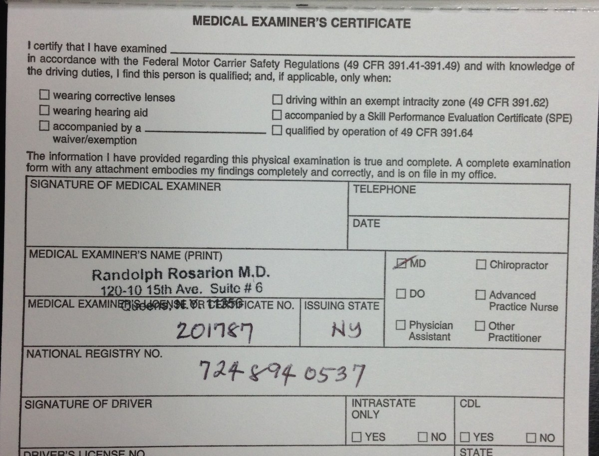Medical examination report form and medical examiners certificate medical examination report form and medical examiners certificate who gets what and why dot physical rules regulations randolph rosarion md 1betcityfo Image collections