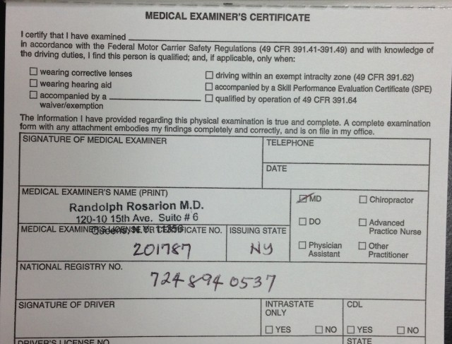 New Forms For  Dot Physicals Medical ExaminerS Certificate