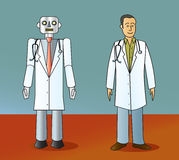 robot-doctor-human-doctor-cartoon-standing-next-to-30428942